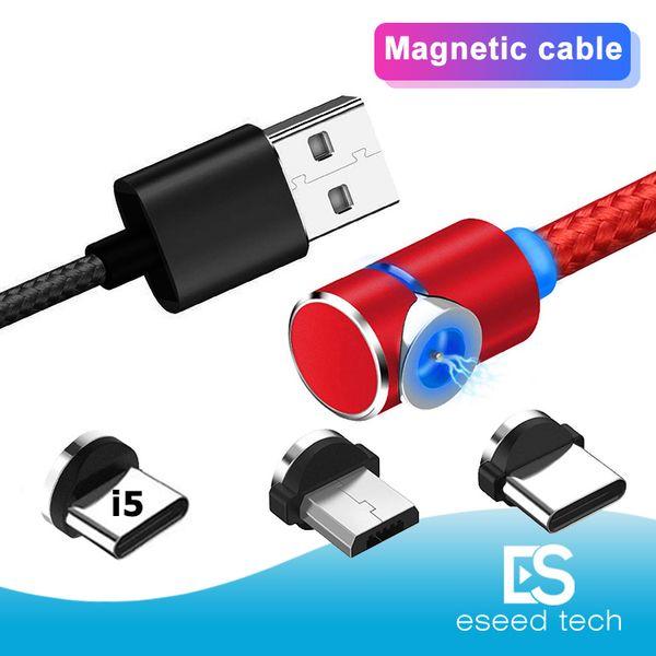3 en 1 90 degrés LED magnétique Chargeur Câble en nylon fort aimant en métal Cordon 1M 2M Micro USB Type Câble C Pour Samsung S10 Note 10 LG Android