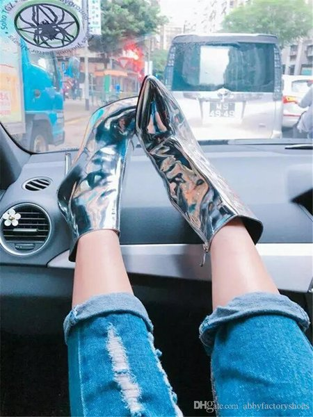 Runway Gold Silver Women Ankle Boots Pointed Toe High Heels Mirror Patent Leather Women Pumps Metallic Fashion Stiletto Short Botas Mujer