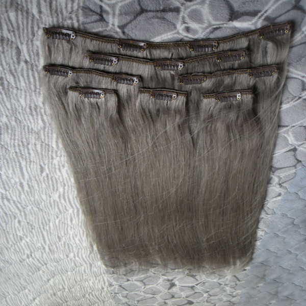 7pcs / set péruvien vierge clip droit dans les extensions de cheveux humains couleur des cheveux gris clips de 100g dans / sur extensions de cheveux gris argenté 18