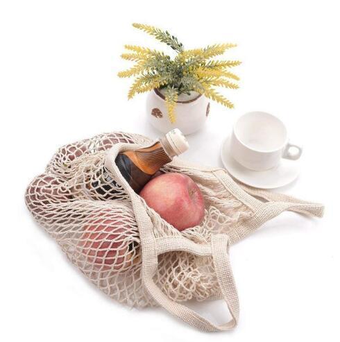 Mallas reutilizables Bolsas de la compra Fruta Cadena Tienda de comestibles Totalizador Malla Tejido de algodón Mango Bolsa de hombro Bolsa de mercado de moda