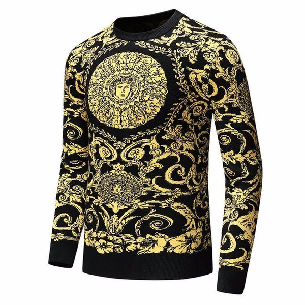 High-end men's sweater men's jacquard 2019 spring Korean version of the trend of fashion bottoming slim round neck sweater 713