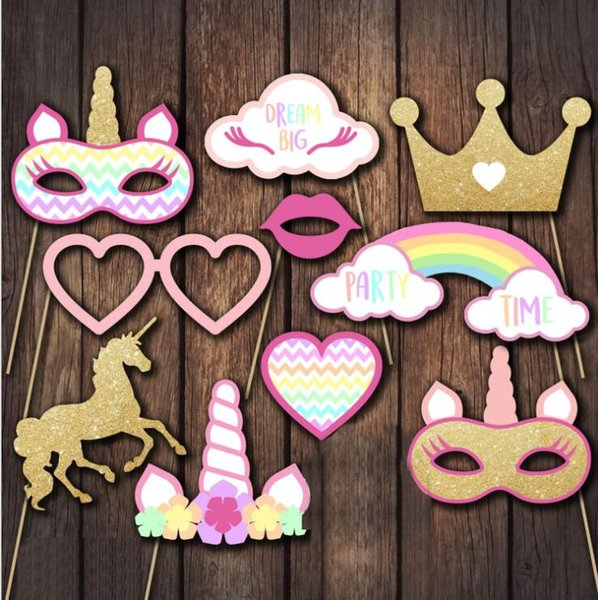 10pcs 1set Unicorn Party Party Photo Booth Atrezzo Happy Birthday Party Decoration Kids Glitter Photobooth Props KKA4500 p