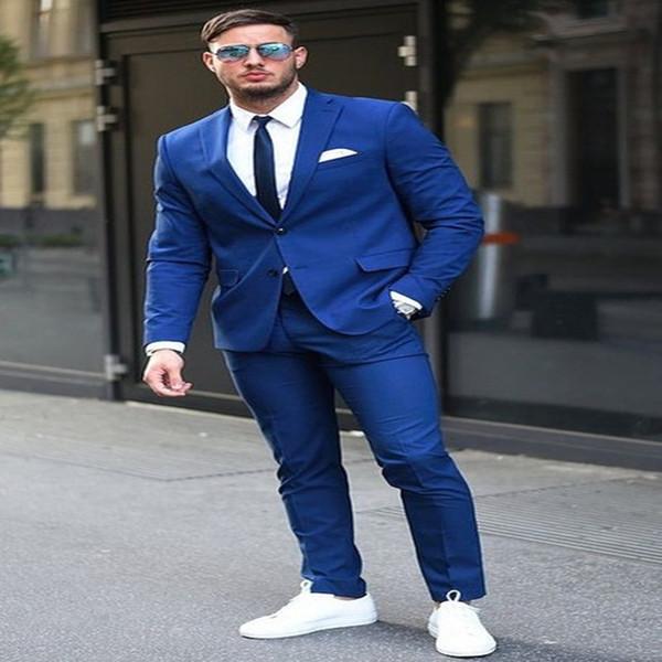 wuzhiyi 2019 abiti da uomo su misura tuta da uomo blu nero uomini d'affari vestiti 2 pezzi (giacca + pantaloni) vetement homme