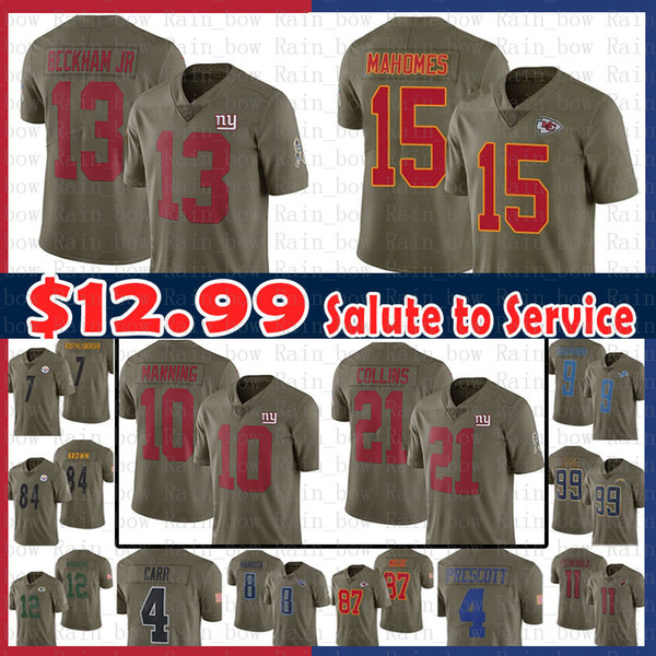 4d4311291 14.99 13 Odell Beckham Jr 10 Eli Manning New York Jersey Gaints 21 Landon  Collins Kansas City 15 Chiefs Patrick Mahomes II Salute to Service