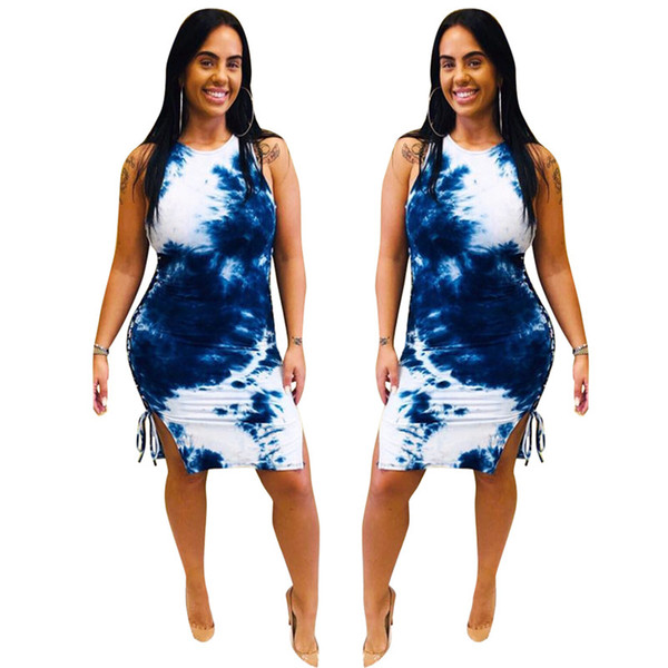 Women Dress Summer Dresses Casual Round Neck Sleeveless Vest Tie-dyed One-piece Skirt Bodycon Dress Women Clothes 3 Color S-2XL