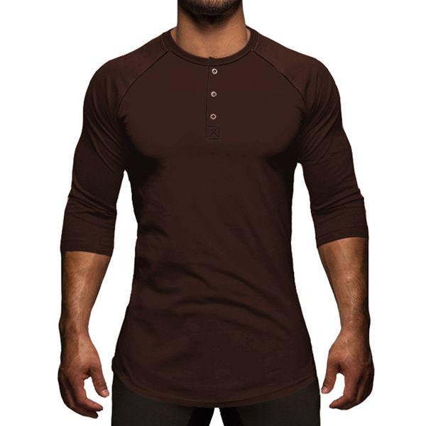 Mens Solid Three Quater Camiseta Henley Collar Elegante Streetwear Camiseta Básica Moda Swag camiseta Hombre Ropa Tops Tops S-XL