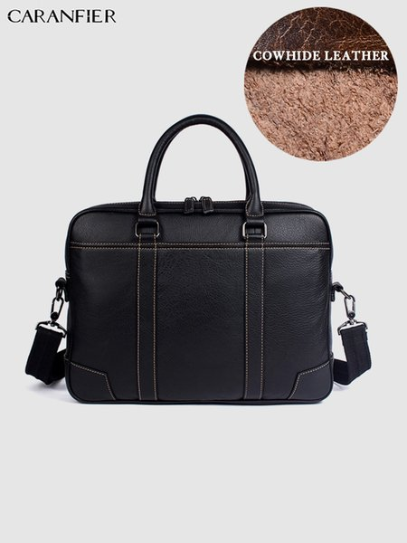 CARANFIER Mens Briefcase Business Solid Handbags Genuine Cowhide Leather Quality Computer Bags Zipper Shoulder Messenger Bags