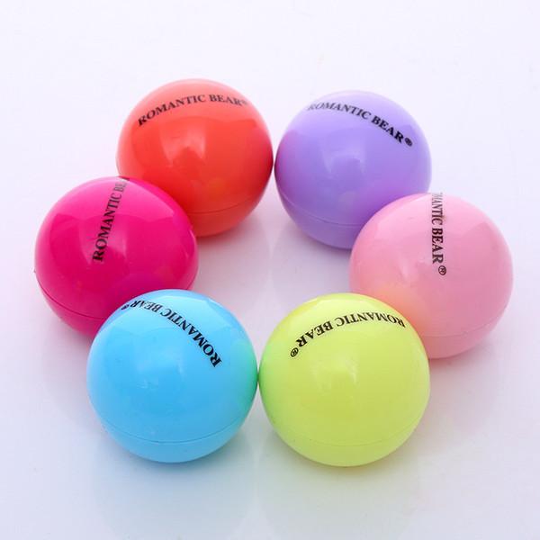 best selling 6 Colors Cute Round Ball Lip Balm 3D Lipbalm Fruit Flavor Lip Smacker Natural Moisturizing Lips Care Balm Lipstick DHL free shipping