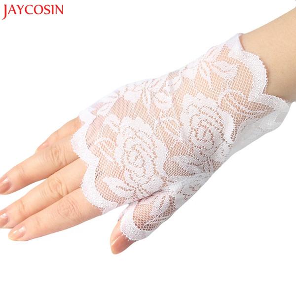 JAYCOSIN 1 paio guanti donna nero, bianco corto senza dita guanti in pizzo vintage ragazze adulto signore guanto z1123