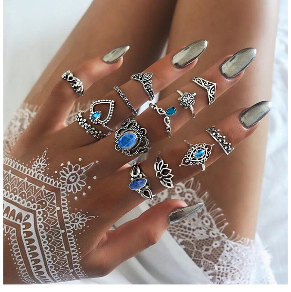 Hot Fashion Jewelry Ancient Silver Knuckle Ring Set Crown Heart Elephant Turtle Stacking Rings Midi Rings Set 13pcs/set S291