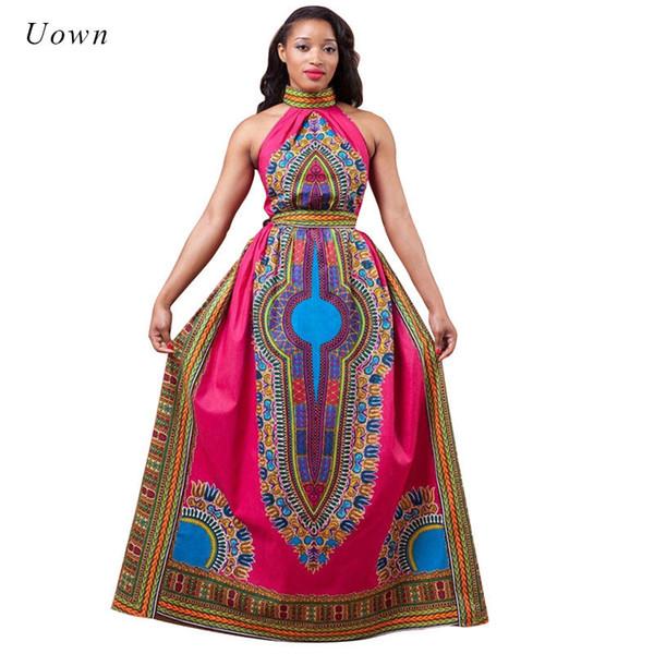 Vestido largo estampado africano Estilo de moda para mujer Patrón de tótem Halter Atuendo largo Vestido largo de Dashiki Ropa tradicional africana