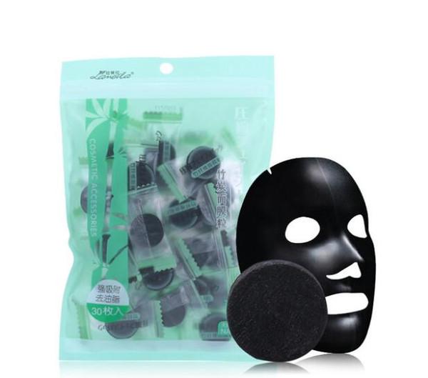 Carvão vegetal De Bambu Máscara Facial Comprimida DIY Máscara Negra Não-tecido Tecidos Forte Adsorção de Controle de Óleo 40 pcs