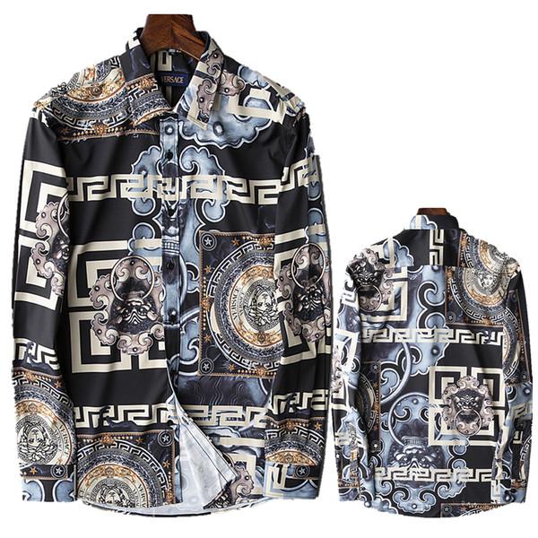 Brand New Slim Herrenhemd Mode Retro Farbe Floral bedruckte Langarm Herren Baumwollhemd Herren Medusa Casual Shirts