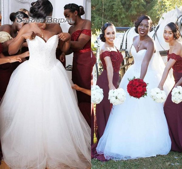 top popular Plus Size Wedding Dresses African Style Sweetheart Beads A Line Tulle Floor Length Wedding Gowns Fast Delivery Black Girl Bridal Dress 2020