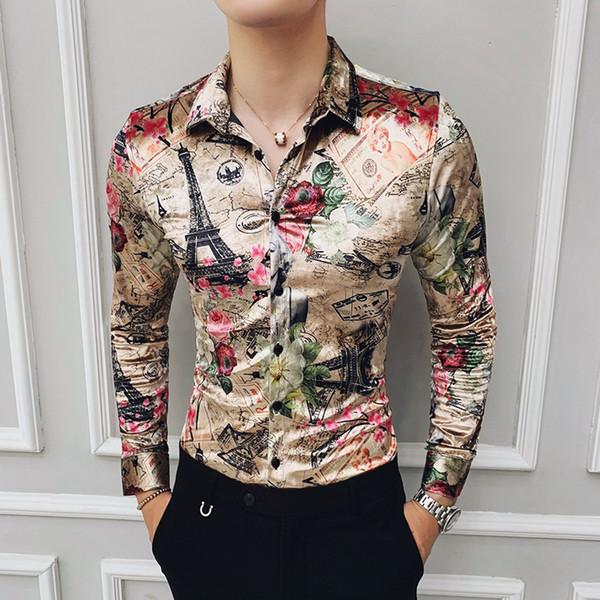 Flanel Moda Baskı Giyim Kış Şık Parti Elbise Uzun Kollu Yeni Gömlek Casual Barok Kadife Gömlek Erkek İpek