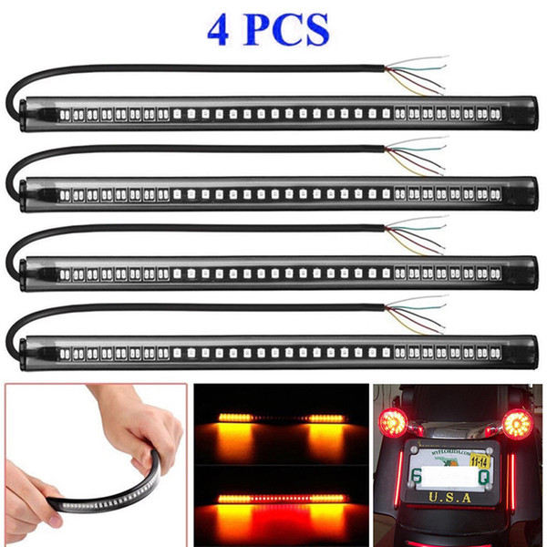 4 pieces Flexible Motorcycle LED Strip License Plate 48SMD Tail Brake Turn Signal Light