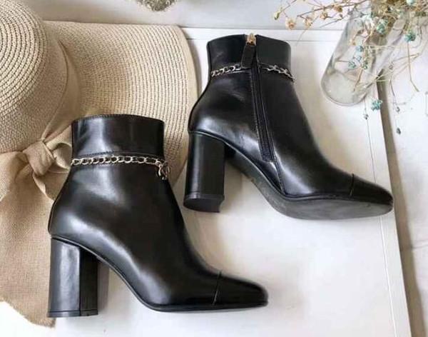 Marca para mujer tobillo cadena impermeable de tacón alto 8 CM otoño invierno botas zapatos de cuero de vaca tamaño 35-41