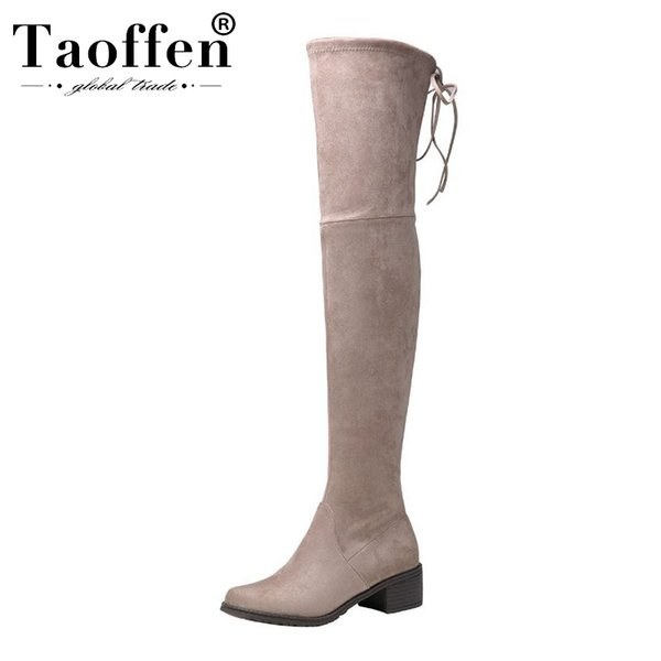 Taoffen Ladies hiver stretch Bottes Cuissardes Bottes bout rond solide Couleur Hiver chaud long Chaussures Taille 34-40