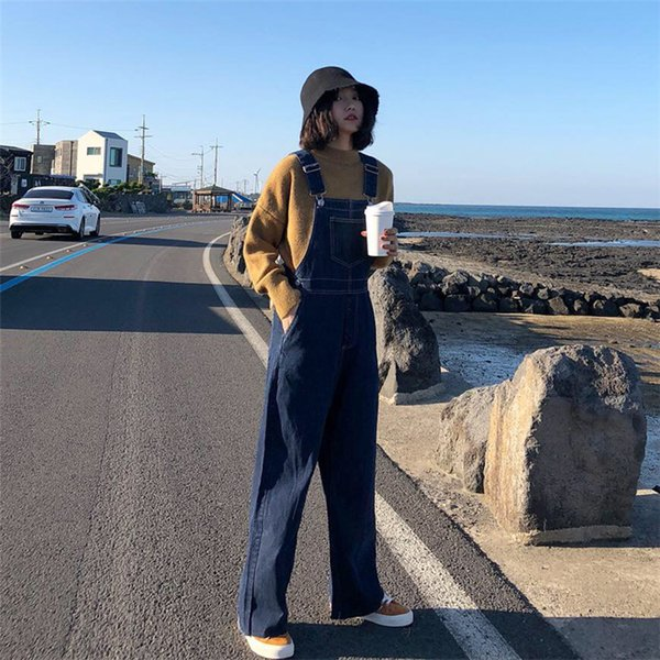 2019 Spring New Women Jeans Jumpsuits Casual Loose Denim Overalls Fashion High Waist Straight Rompers Female Trousers