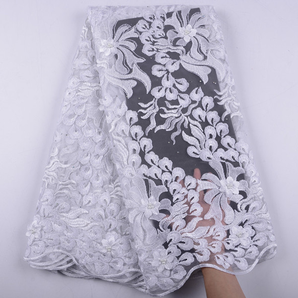 White Embroidery 3D Flowers French Tulle Net Lace With Stones Beaded Nigerian African Lace Fabric 2019 With Appliques Dress 1474