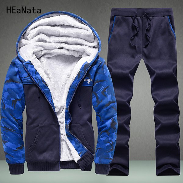 Tracksuit Men Set Winter Camouflage Hoodies Casual Hooded Warm Sweatshirts Male Thicken Fleece 2PC Thick Jacket+Pant Men 2018