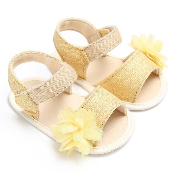 3 Color Summer Baby Girl Shoes Newborn Toddler Baby Solid Canvas Flower Sandal Soft Sole Anti-slip Shoes Baby Girl Sandal JE25#F