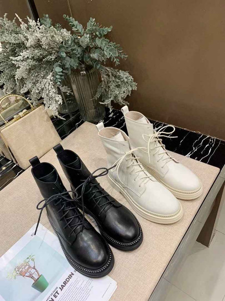 Lüks Tasarımcı Deri Siyah Ahşap Topuk Kalın Topuk Ayak Bileği Çizmeler Yuvarlak Ayak Sonbahar Kış Çizmeler Ayakkabı ücretsi ...