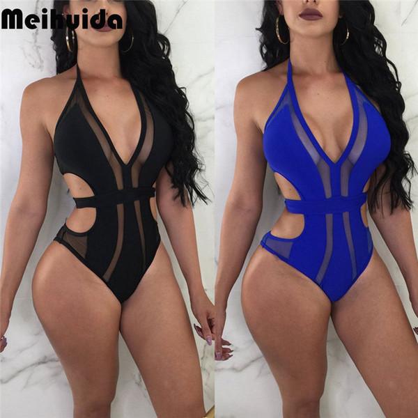 Sexy Women One Piece Swimsuit New Ladies Backless Swimwear Monokini Brazilian Push Up Bikini Transparent Mesh Bathing Suit