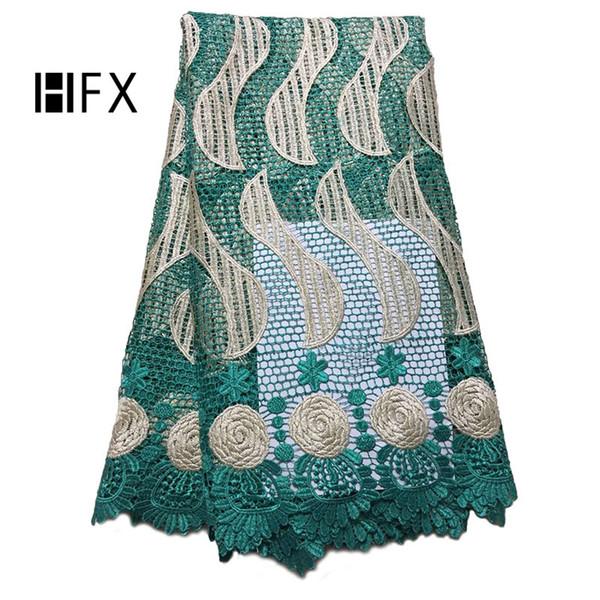 HFX 2019 nuovo disegno verde africano cavo di pizzo guipure tessuti di pizzo di alta qualità moda tessuto africano del merletto per la cerimonia nuziale h1614
