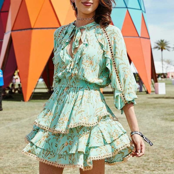 Новое поступление линия зеленая мода 2019 район бирюзовые летние платья мини женские платья с длинным рукавом ну вечеринку BOHO платье vestidos