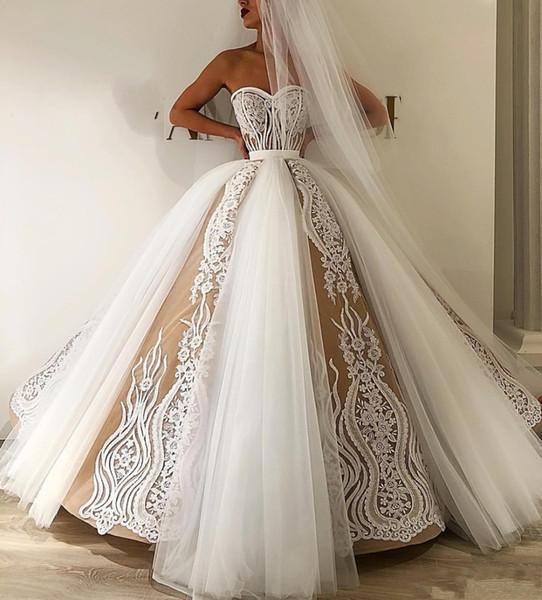 Elegant Pretty Lace Wedding Dresses 2020 Appliques Puffy Ball Gowns Off The Shoulder Bridal Dresses Vestido De Noiva
