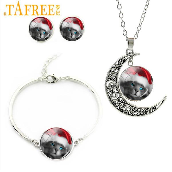 TAFREE Blaue Augen Katze Trägt Red Christmas Hat Schmuck Sets Halskette Ohrringe Armband Frauen Schöne Schmuck Sets Weihnachtsgeschenke CM52