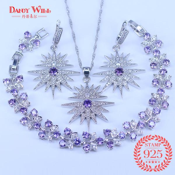 Star 925 Joyas de Plata Púrpura Cubic Zirconia Cristal Blanco Conjuntos de Joyas para Las Mujeres Pendientes / Colgante / Collar / Pulsera