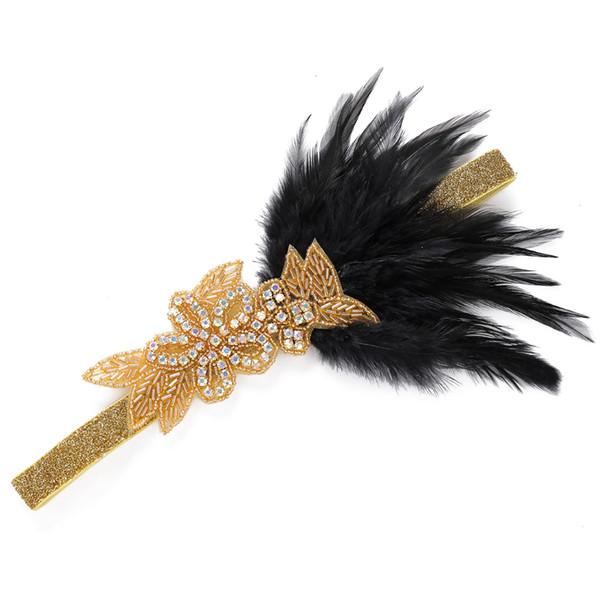 Bands черного перо Хлопушка оголовье Кристалл бисер Rhinestone Deco Упругих волосы для женщин Фестиваль Diy индийской Аксессуары для волос