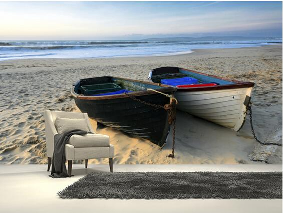 Custom landscape wallpaper,Fishing Boats on the Beach,3D photo mural for living room bedroom kitchen wall wall PVC wallpaper