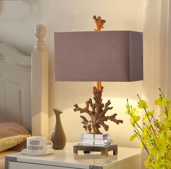 Livraison Gratuite Corail Lampe De Table Salon Méditerranéen Chambre Table De Chevet Lumières En Tissu Abat-Jour W36cm H68cm Home Lighting LLFA