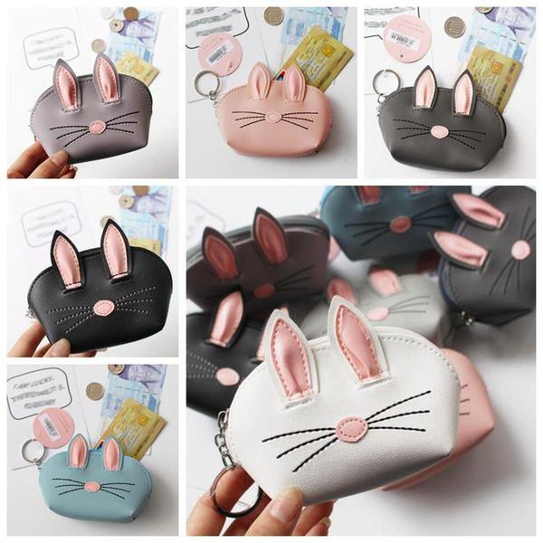 7 Colors Rabbit Ear Coin Purses Creative Wedding Party Gifts Korean 3D Rabbit Ear PU Leather Card Holders Cash Coin Bags CCA11304 50pcs
