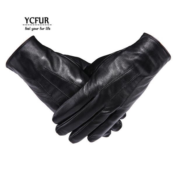 YCFUR Genuine Leather Gloves Mittens Men Soft Warm Winter Gloves Men Whole Pieces Genuine Sheepskin Men's Male