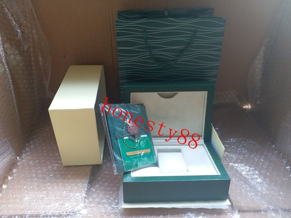 top quality Luxury watch Mens For Rolex Watch Box Original Inner Outer Womans Watches Boxes Men Wristwatch Green box booklet card q108