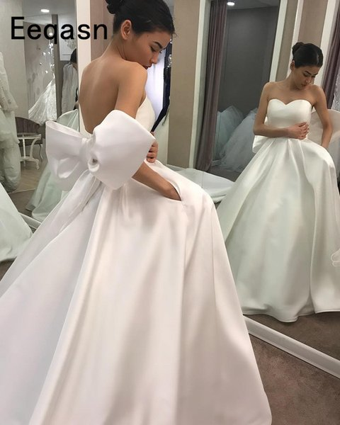 Simple Ball Gown Wedding Dresses Sweetheart Sexy Back Open Custom Made Ivory Romantic Puffy Bridal Gowns 2019 robe mariee