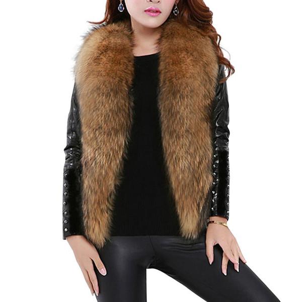 Senza maniche Faux Fur Vest Women Plus Size cappotti di pelliccia Shaggy Cardigan Abbigliamento Donna Autunno Inverno 2019 Cane procione Gilet T6