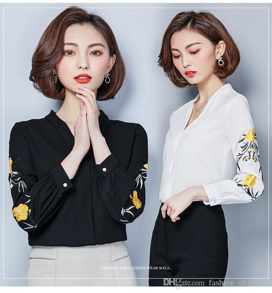 2018 nova primavera verão mulheres bordado camisa de manga comprida chiffon blusa de todos os jogo do escritório senhora roupas de trabalho topos