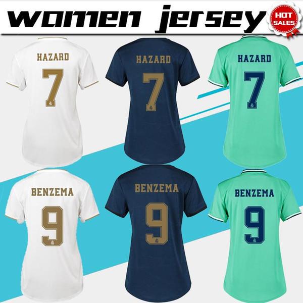 Женщины Трикотажные изделия 2020 Реал Мадрид Главная # 7 ОПАСНОСТИ трикотажные изделия футбола 19/20 женские прочь синий футбольные рубашки третий зеленый настроены футбол Униформа