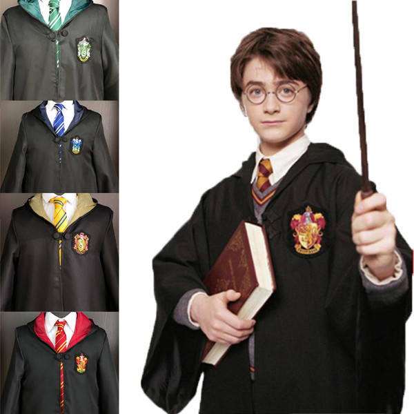 Yetişkin Çocuk Cosplay Pelerin Harry Potter Özel Nakış Hoodie Sihirli Robe Beyaz Gömlek Cadılar Bayramı Çizgili Kravat Harry Potter Eşarp