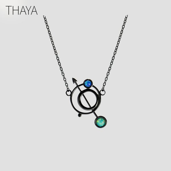 Thaya Original Design Astrograph S925 Silver Opal Pendant Necklace Black Clavicle Chain Necklace For Women Gift Simple Jewelry Y19051603