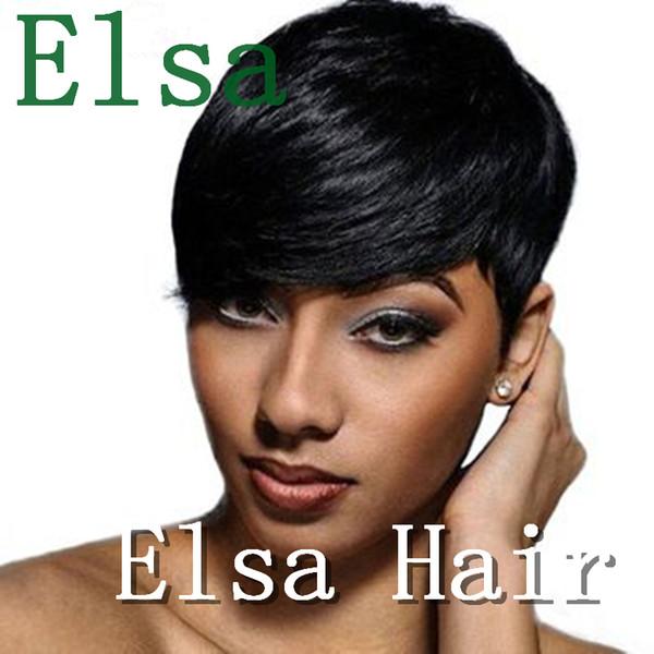 Human Hair Short Black Wigs Long Bangs Natural Hair Pixie Cut Short Bob Wigs Black Short Hair Wigs for Women