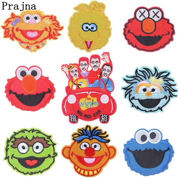 Sewing Fabric Patches Sesame Street Embroidered Patches Iron On Appliques Cute Cartoon Patches For Clothing cheapest sticker New