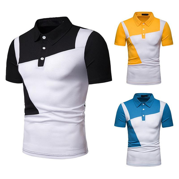 Nouveaux hommes Polo Shirt Spliced Homme Polo Shirts Turn-Down Col Chemises Homme Manches Courtes Taille S-2XL