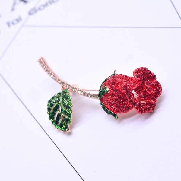Beautiful Crystal Red Rose Flower Brooch Pins Shirt Collar Suit Coat Vintage Pins Woman Weddings Party Banquet Brooch