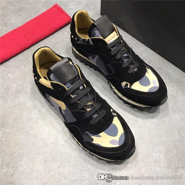 luxshoes_collection / Últimas Mulheres Camuflagem Spike Tênis com Tachas, Classic Mens Designer Sapatilha Sapatos Casuais Red Bottoms com tamanho da caixa 35-45